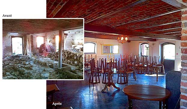 Rénovation d'une ferme en salle de restaurant
